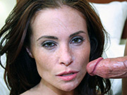 Sultry Ginger Lea deep throats and gets cum facial