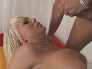 Shaved blonde Tiffany Price gets jizz on huge tits