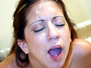 Horny Latina Maria Lopez gives blowjob with facial