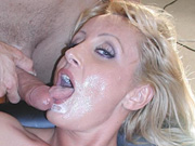 Hungarian babe Mina gives blow job and gets facial