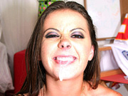 Cute brunette coed Penny Flame fucked and facialed