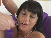 Shaved Latina babe Dasani gets fucked and facialed