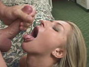 Sweet sexy Sammie sucks cock and gets a cum facial